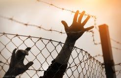 Flyktingmän och staket arkivfoto