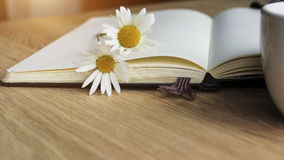 Flyleaf disclosed notebook, flowers, coffee - close up. Work. Royalty Free Stock Image