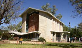 Flynn Memorial Church, Alice Springs, Austrália imagem de stock royalty free