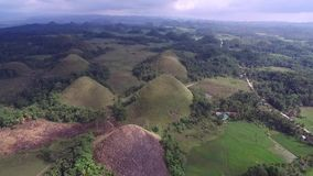 Flyover aerial view of Chocolate hills. Bohol, Philippines.  stock video