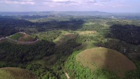 Flyover aerial view of Chocolate hills. Bohol, Philippines.  stock video footage