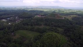 Flyover aerial view of Chocolate hills. Bohol, Philippines.  stock footage