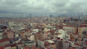 Flyover the city in istanbul turkey. During an autumn day stock video footage