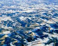 Flyover country. Aerial winter view of a Minnesota landscape royalty free stock photography