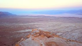 Flyover of the desert by the dead sea Royalty Free Stock Images