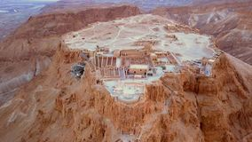 Flyover of the desert by the dead sea Royalty Free Stock Image
