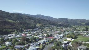 4K aerial, typical small town, New Zealand stock footage