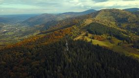 Green mountains in the fall stock video footage