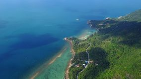 Flyover of an island in Thailand. Flyover of an island in Samui Thailand stock video footage