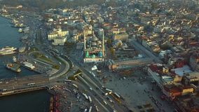 Flyover Istanbul Turkey. Flyover sultanahmet region on istanbul turkey during autumn stock video footage