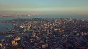 Flyover Istanbul Turkey. Flyover sultanahmet region on istanbul turkey during autumn stock video