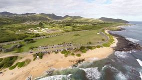 Flyover of Sandy Beach on south shore of Oahu, Hawaii stock footage