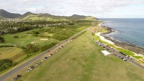 Flyover of Sandy Beach on south shore of Oahu, Hawaii stock video footage
