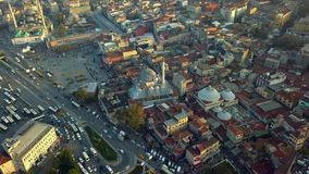 Flyover Istanbul Turkey. Flyover sultanahmet region on istanbul turkey during autumn stock footage