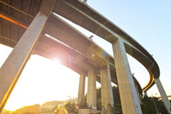 Flyover sunset in city Royalty Free Stock Images
