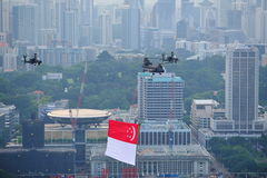 Flypast of Singapore national flag. During National Day Parade 2012 Preview on 4 Aug 2012 Royalty Free Stock Images