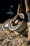 Flyrods Closeup. Closeup of two fly rods and reels Royalty Free Stock Photography