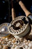 Flyrods Closeup. Closeup of two fly rods and reels Stock Images