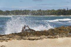 Flys för havssprej till och med luften som vågor kraschar över drivved Arkivbild