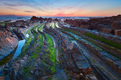 Flysch in the Basque Country beach Barrika, Spain Royalty Free Stock Photos