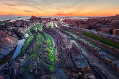 Flysch in the Basque Country beach Barrika, Spain Stock Photos