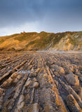 Flysch in La Vega beach, Asturias, Spain. Royalty Free Stock Photos