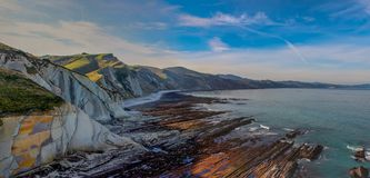 The Flysch, the rock formations of the beach of Zumaia or Itzurun in Guipuzcoa stock images