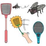 Flyswatter και μύγα Στοκ φωτογραφία με δικαίωμα ελεύθερης χρήσης