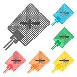 Flyswatter and mosquito icons set Stock Image