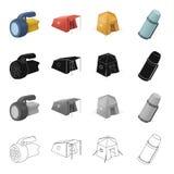 Flytande, tält, logi och annan rengöringsduksymbol i tecknad filmstil Lykta elkraft, flasksymboler i uppsättningsamling vektor illustrationer