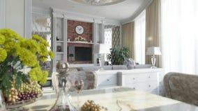 Flytrough doméstico da sala interior ilustração royalty free