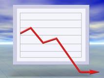 flytta sig för graf för affärskris ner finansiellt Arkivbild
