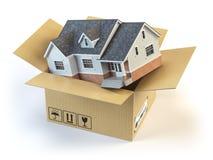 flytta sig för hus Real Estate marknadsför isolerad white för begrepp leverans stock illustrationer