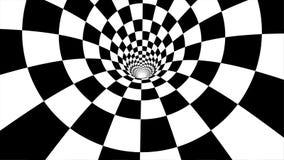 Flytta sig inom tunnelen ögla Abstrakt rörelseanimering i en svartvit tunnel royaltyfri illustrationer