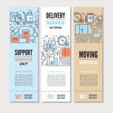 Flytta sig och leveransmall med linjen symboler Arkivbilder