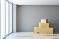 Flyttande askar på ett nytt kontor stock illustrationer