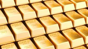 Flyttande buntar av guld- stänger, livlig bakgrund med guld- tackor framförande 3d royaltyfri illustrationer