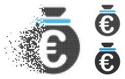 Flyttande Dot Halftone Euro Fund Icon stock illustrationer