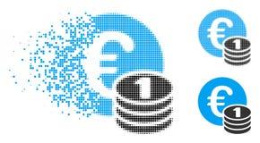 Flyttande Dot Halftone One Euro Coin buntsymbol royaltyfri illustrationer