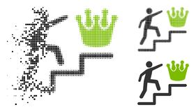 Flyttande Pixelated halvton Person Steps To Crown Icon vektor illustrationer