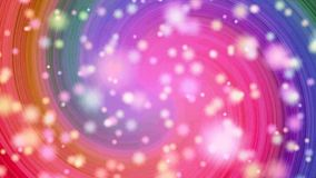 Flyttande spiral med snöflingor Livlig abstrakt illustration av ljusa färgrika spiral som roterar på vit bakgrund vektor illustrationer