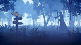 Flyttning för grym skördemaskin in mot byn på natten Arkivbild