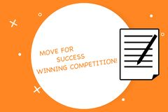Flyttning för handskrifttexthandstil för framgång som segrar konkurrens Begreppsbetydelsen gör de högra flyttningarna att segra d royaltyfria foton