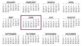Flyttning för kalendermånadgränsask från januari till december animeringbakgrund royaltyfri illustrationer