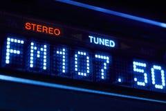 FM条频器收音机显示 调整的立体声数字式频率驻地 库存照片