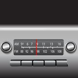 AM FM Car Dashboard Radio. Tuner with red station indicator. ILLUSTRATION, NOT A PHOTO royalty free illustration