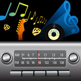 AM FM Drive Time Dashboard Radio Music Broadcast. DJ drive time on a retro AM FM Dashboard Radio. Gold notes for golden oldies, blue music symbol for cool blues Royalty Free Stock Photos
