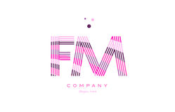 Fm f m alphabet letter logo pink purple line icon template vecto Royalty Free Stock Photos