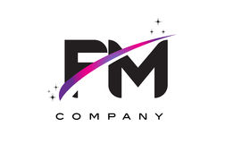 FM F M Black Letter Logo Design with Purple Magenta Swoosh. And Stars Royalty Free Stock Image