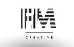 FM F M Black and White Lines Letter Logo Design. Royalty Free Stock Images